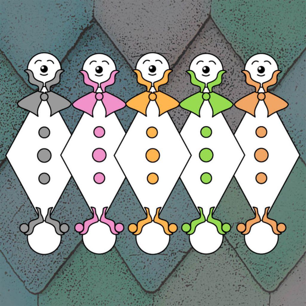 Vinjett Happy Harlequins, animerade illustrationer