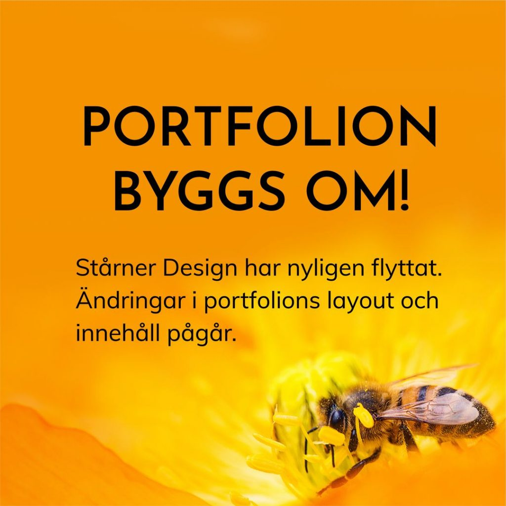 Text som informerar om att portfolion byggs om, mot orange bakgrund med ett bi som samlar pollen i en gul blomma