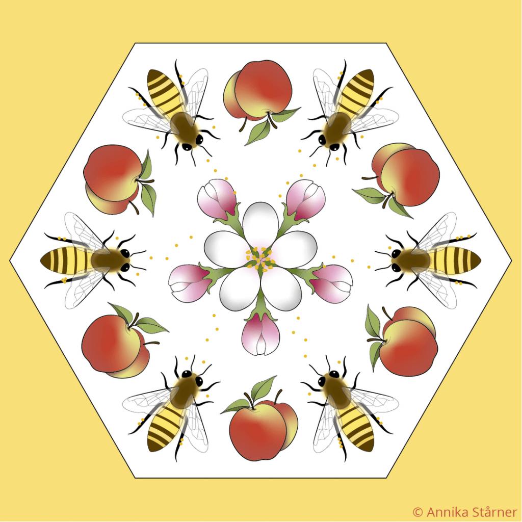 Illustration av mönster med bin, äppelblom och äpplen i vit hexagon mot gul bakgrund