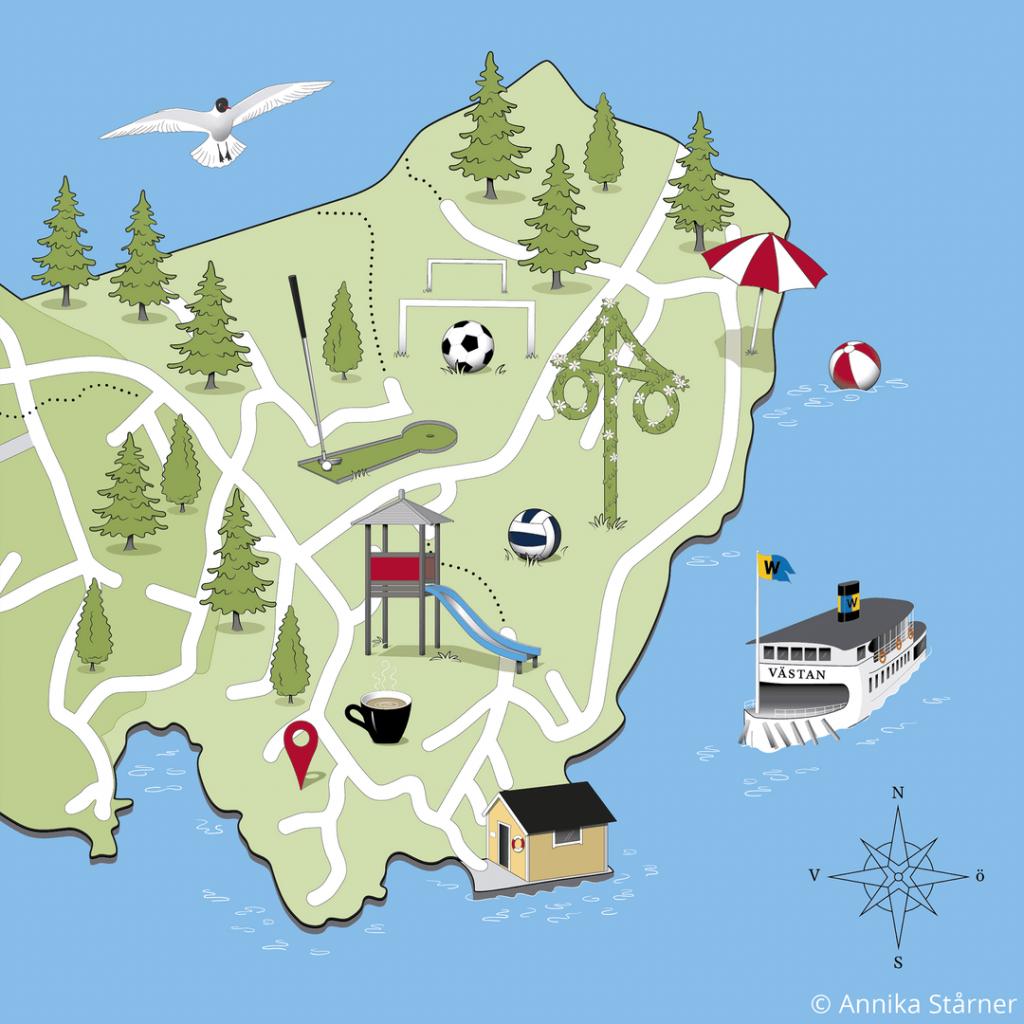 Illustrerad karta över Lervik och Brevik i Österåker som infografik