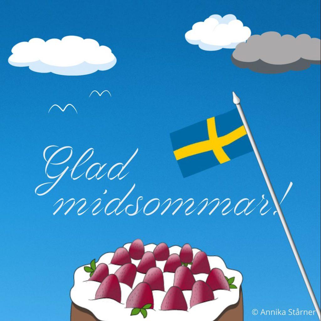Animerad midsommarhälsning. Jordgubbstårta och svensk flagga mot himmelsblå bakgrund.