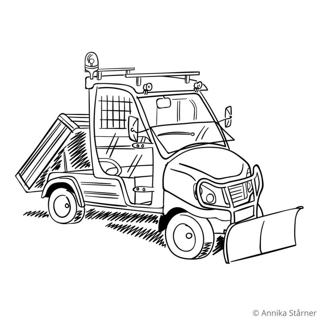 Illustration av en eldriven golfbil