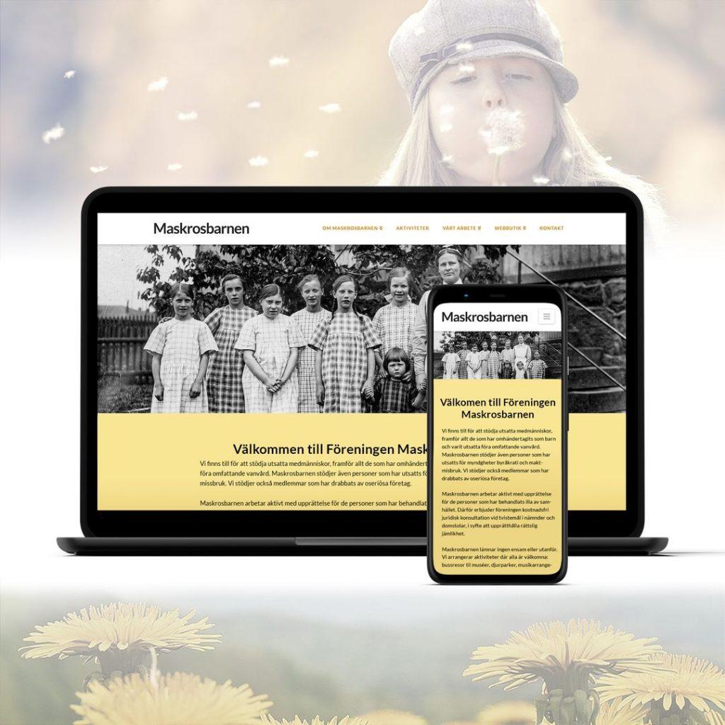 Webbplats för en förening för människor som har farit illa visas på en laptop och en mobil mot bakgrund av bilder med maskrosor